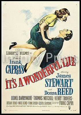 Its a Wonderfull Life Movie Film Poster A2 A3 A4