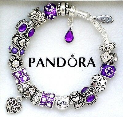 Authentic Pandora Charm Bracelet Purple Heart Love Gift European Charms Beads