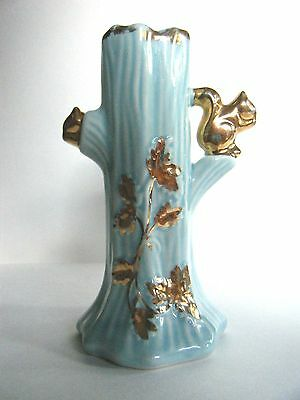 Warranted Bud Vase Aqua Blue Tree Squirrel 22K Gold Trim USA