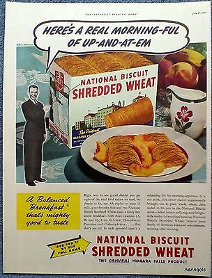 1940 National Biscuit Shredded Wheat Up and At 'Em Morning-ful ad
