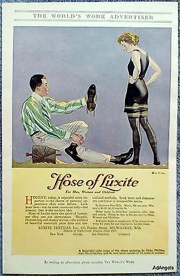 1917 Luxite High Grade Hosiery Man Emptying Sand Shoes Lady Bathing Suit ad