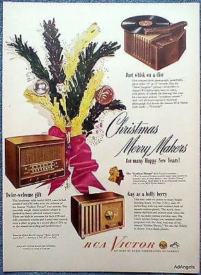 1947 RCA Victor Radio Phonograph Christmas Merry Makers Gifts ad