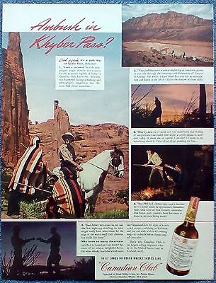 1942 Canadian Club Whisky Spider Rock Arizona Canyon De Chelley Coyote Howl ad