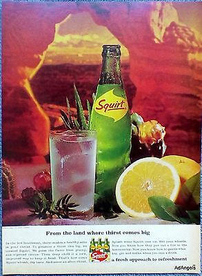 1965 Squirt Soda Southwest Stone Arch Sunset Red Yellow Cactus Land Thirst ad
