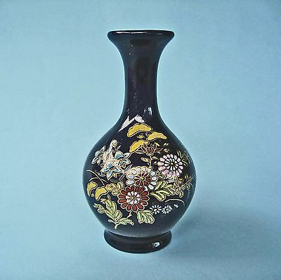 VASE VINTAGE JAPAN CERAMIC Small Dark Blue Enamel Flowers Gold Edge Decorative