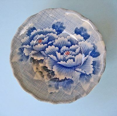PIN DISH BOWL RETRO JAPAN Blue Chrysanthemum Flowers Hand-Painted Decorative