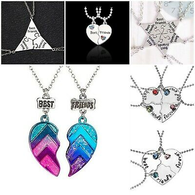 Best Bitches BFF Broken Heart Best Friends Forever Chain Pendant Necklace Gifts
