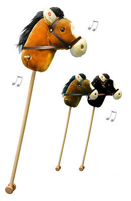 NEW Korimco Hobby Horse with Realistic Sounds & Wheels Black Dark Brown or Tan
