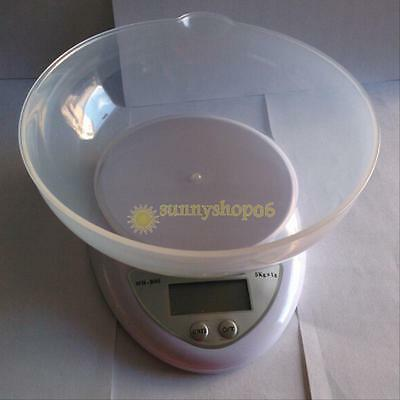 5KG x 1g LCD Digital Kitchen Scale Compact Diet Food with Bowl Electronic Weight