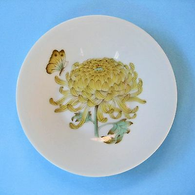 PIN DISH MINIATURE PLATE RETRO JAPAN White Ceramic Yellow Flower Butterfly