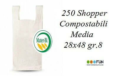 SHOPPER MATER-BI COMPOSTABILI BIODEGRADABILI 250 pz. MEDIA  28X48 A NORMA