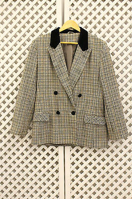 Vintage black check oversized wool country riding preppy blazer jacket M 10 12