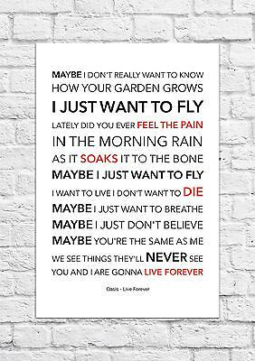Oasis - Live Forever - Song Lyric Art Poster - A4 Size
