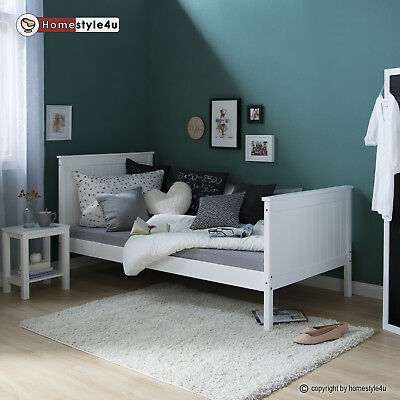 bett einzelbett holzbett dimo 90 x 200 kiefer massiv holz weiss lackiert neu eur 179 00. Black Bedroom Furniture Sets. Home Design Ideas