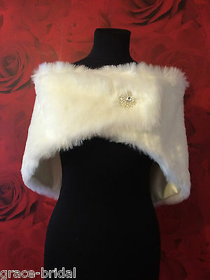 LUXURY IVORY FAUX FUR WRAP WITH BROOCH FASTENER ASS SIZES BNIP*free samples*