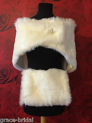 LUXURY IVORY FAUX FUR WRAP AND MUFF  WITH BROOCH FASTENER BNIP*free samples*