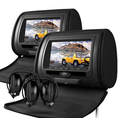 "Universal Black 7"" Leather-Style HD Car DVD Headrests with SD/USB/Games Mercedes"