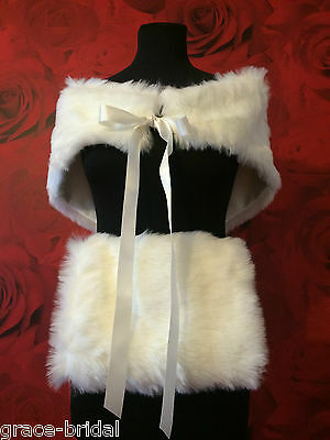LUXURY IVORY FAUX FUR SHRUG AND MUFF SET IN ASS SIZES BNIP *free samples*