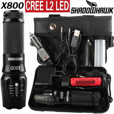 20000lm X800 ShadowHawk Flashlight XML L2 LED Military Torch Battery Charger Set