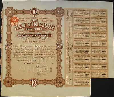 England New Timbiqui Gold Mines alte Aktie 1910 with Coupons Goldmine