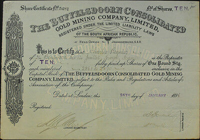 Südafrika London Buffelsdoorn Consolidated Gold Mining  Aktie 1896 South Africa
