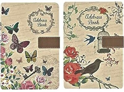 NEW-A-Z Indexed A5 Address Books Designer Assorted Designs Butterfly Shabby Chic