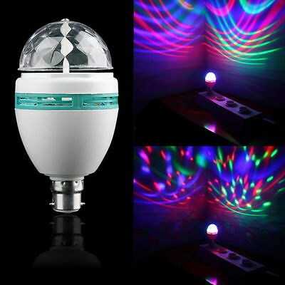 B22 DJ 3W Colorful Auto Rotating RGB LED Bulb Stage Light Party Lamp Disco