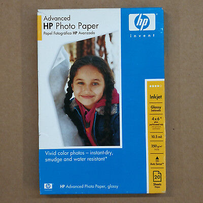 HP Q6639A Advanced Photo Papers Glossy w/ Tab Inkjet Printers 4x6 20 Sheets