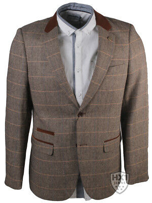 Mens Branded MD Smart Tan Tweed Checked Blazer Sizes 36-48 Inch Chest