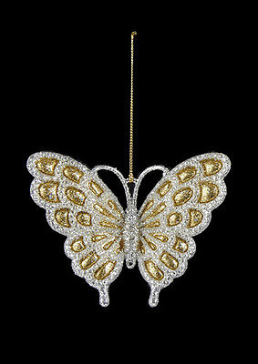 KURT ADLER SILVER GLITTERED BUTTERFLY w/GOLD GLITTER DETAIL CHRISTMAS ORNAMENT