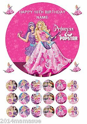 Barbie Popstar 75 Round Edible Icing Birthday Cake Topper 18 Cupcake Toppers