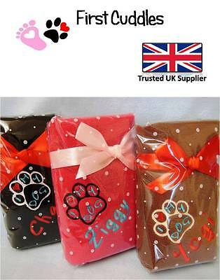 Personalised Dog Blanket- Embroidered  'Paw Print'  And Your Dogs Name