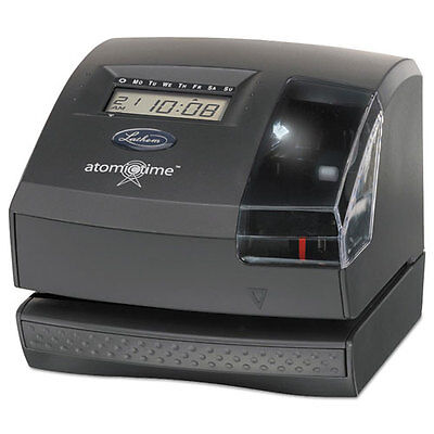 Lathem Time 1600E Wireless Atomic Time Clock with Tru-Align Feature, Dk Gray