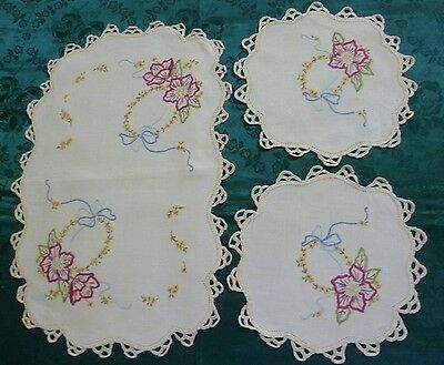 Vintage  Duchess Set Hand Embroidered Large & 2 Small Doilies