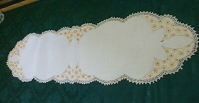 Large Vintage Hand Embroidered 110 Cm  Table Runner Deco Design Cream Edged