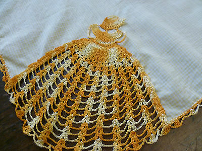 Vintage Gingham Supper Cloth  Hand Crocheted Victorian Ladies In Varigated Gold