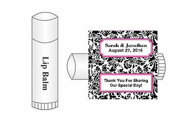 60 Personalized Lip Balm Damask Glossy Wedding Favor Labels Stickers