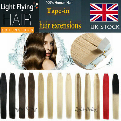 16''-24'' 20/40pcs Straight 6A Remy Tape in 100% Human Hair Extensions UK Stock