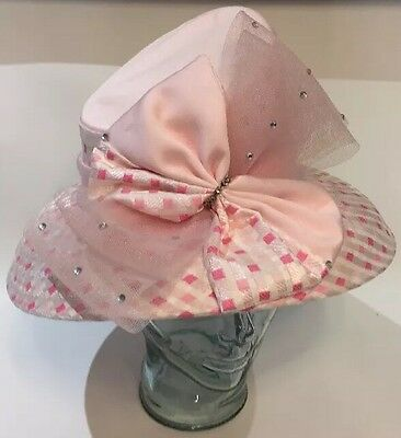 Women's Pink Fancy Bow Derby/Chruch Hat