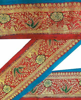 Vintage Sari Border Antique Woven Indian Trim Sewing Décor Red Ribbon Lace 1YD