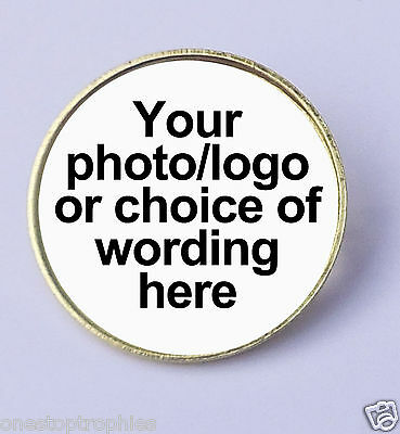 School Personal Round Metal Pin Badge Printed With Your Own Name, Design Or Logo