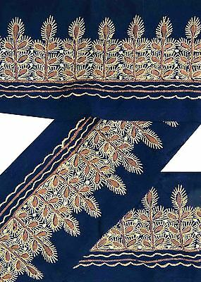 Vintage Sari Border Antique Embroidered Indian Trim Craft Blue Ribbon Lace 1YD
