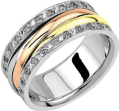 Genuine 9ct Gold Wedding Band Ring With Cubic Zirconia Size N