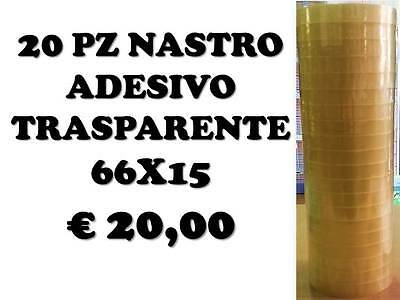 20 Pz Nastro Adesivo Trasparente Scotch Mm15X66Mt Da Cancelleria