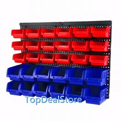 30 PC Bin Wall Mounted Storage Solution Rack Nuts & Bolts Organizer Garage Shed