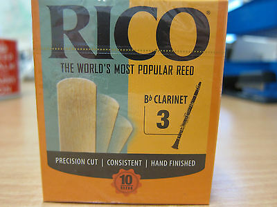 Rico Bb Clarinet Reeds- 'strength 3' - box of 10, factory sealed