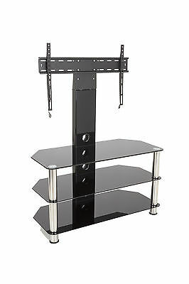 """Black Glass TV Stand With Wall Bracket for 32 - 55"""" TVs -90cm Wide With Shelves"""