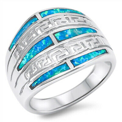 Girl's Greek Key Blue Lab Opal Cute Ring New 925 Sterling Silver Band Sizes 6-10