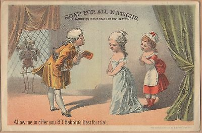 Victorian Trade Card-B T Babbit's Best Soap-NY-Gentleman Offering Soap to Ladies