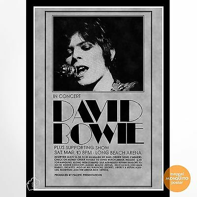 David Bowie Concert Poster Los Angeles Long Beach Arena,ca 1973.